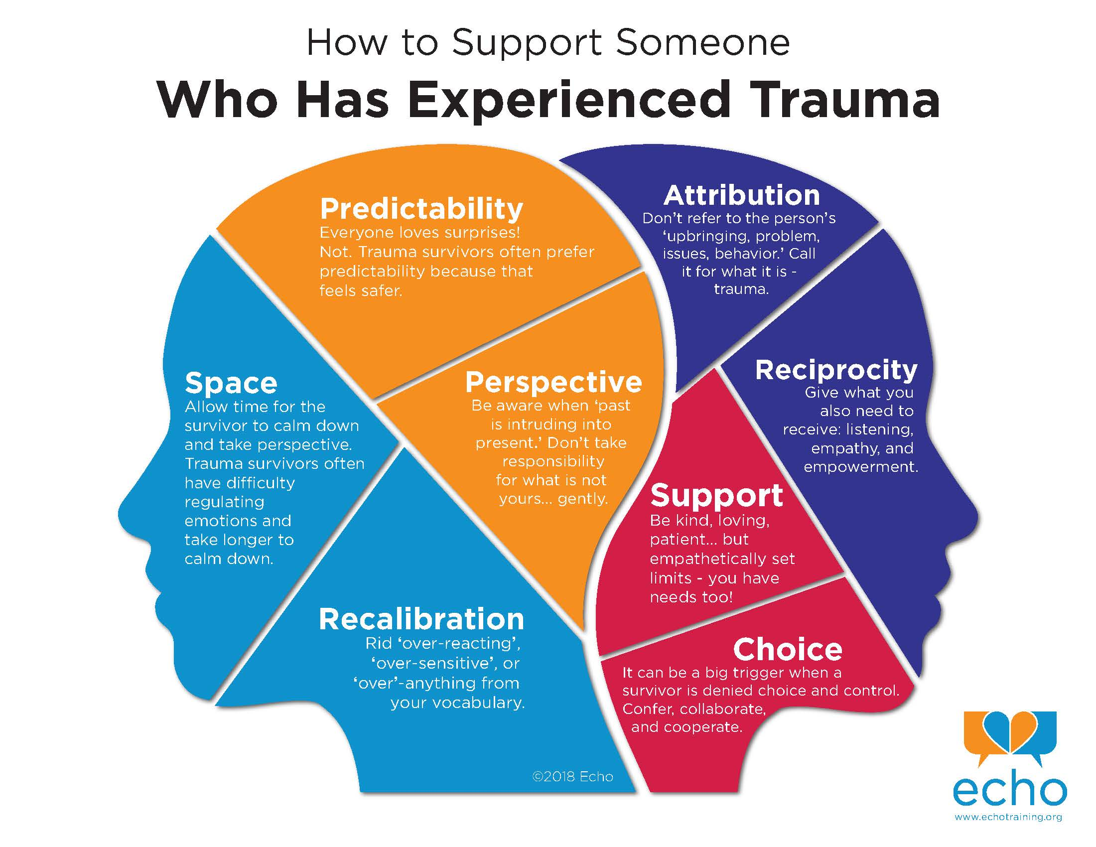Two heads that are overlapped to show what someone with a trauma history might experience.